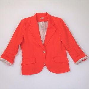 Cremieux Orange Linen Blazer Cutaway Notch Collar